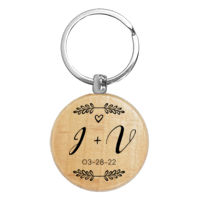 Couple Initials Wooden Keychain Wedding Favor Thumbnail